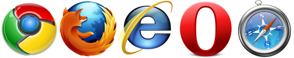 Navegadores da Web: Internet Explorer, Chrome, Firefox, Safari e Opera.